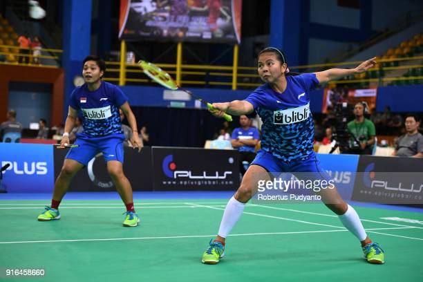 Greysia Polii and Apriyani Rahayu of Indonesia compete against Misaki Matsutomo and Ayaka Takahashi of Japan during Women's Team Semifinal match...