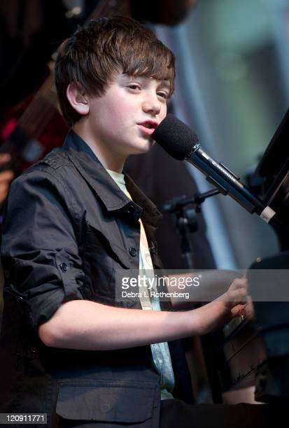 Greyson Chance performs outside of FOX Studios on August 12 2011 in New York City
