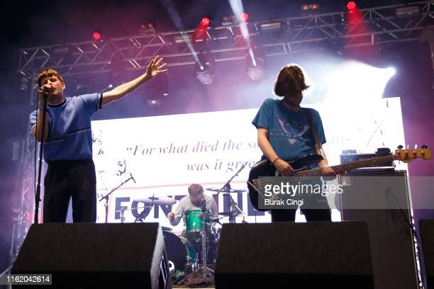 Grian Chatten and Conor Deegan III of Fontaines DC perform at Citadel Festival at Gunnersbury Park on July 14, 2019 in London, England.