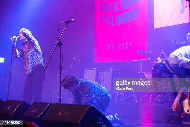 Grian Chatten, Conor Curley and Conor Deegan of Fontaines D.C. Performs at the RTE Choice Music Prize at Vicar Street on March 05, 2020 in Dublin,...