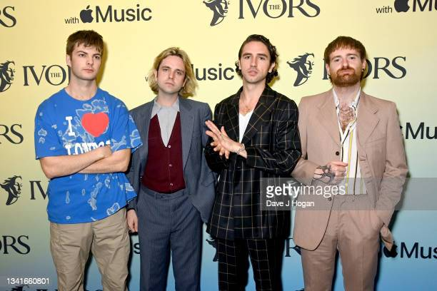 Grian Chatten, Conor Deegan, Carlos O'Connell and Tom Coll from Fontaines DC attend the Ivor Novello Awards 2021 at Grosvenor House on September 21,...