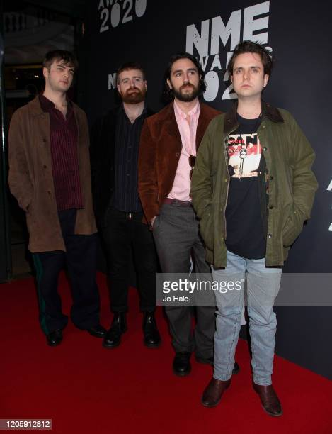 Grian Chatten, Conor Deegan, III Carlos O'Connell, Conor Curley Tom Coll of Fontaines DC attend the NME Awards 2020 at O2 Academy Brixton on February...