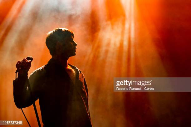 Grian Chatten of Fontaines D.C. Performs during Ypsigrock Festival at on August 11, 2019 in Castelbuono, Palermo , Italy.