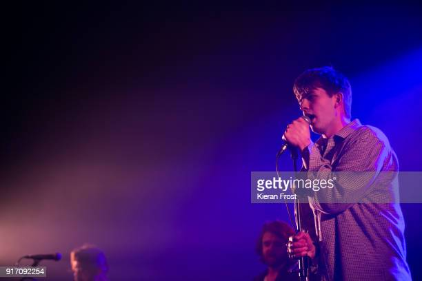 Grian Chatten of Fontaines D.C. Performs live at the Olympia Theatre on February 11, 2018 in Dublin, Ireland.