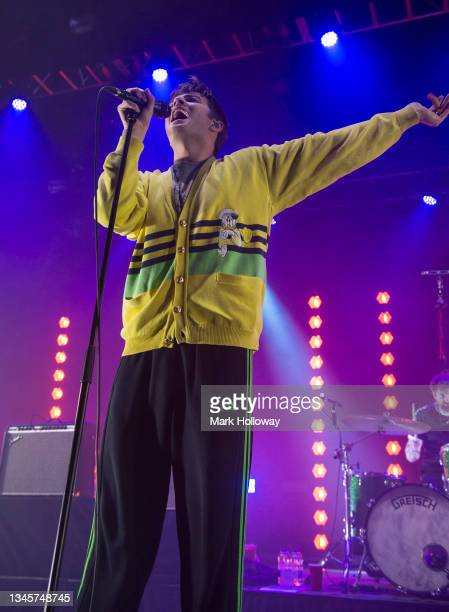 Grian Chatten of the Fontaines D.C. Performs at O2 Guildhall on October 09, 2021 in Southampton, England.