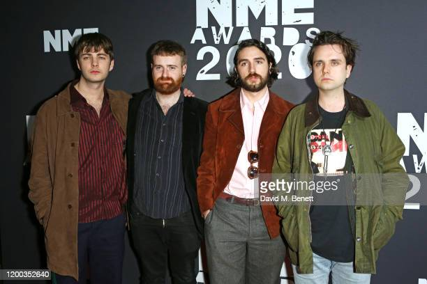 Grian Chatten, Tom Coll, Carlos O'Connell and Conor Deegan III of Fontaines D.C. Attend The NME Awards 2020 at the O2 Academy Brixton on February 12,...