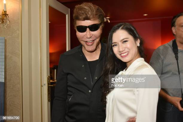 Grichka Bogdanoff and Miss Vietnam Global 2017 Ho Quoc Phuong attend Citestars Press Conference at Hotel Saint Petersbourg on May 22 2018 in Paris...
