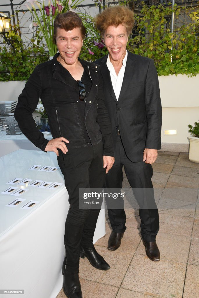 Grichka Bogdanov and Igor Bogdnov attend 'Ulugh Beg The Man Who Unlocked the Universe ' Screening Cocktail at Club 13 and Dinner at Hotel Hoche on June 21, 2017 in Paris, France.