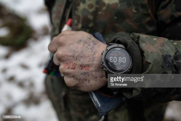 Grid coordinates, referring to the companies positions, written on the back of operations officers in the staff of the 232nd mountain infantry...