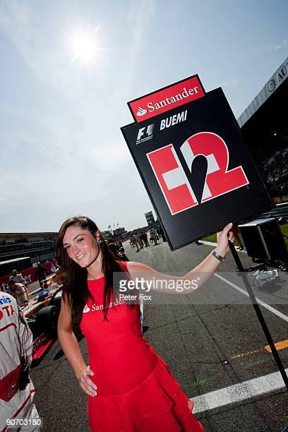 Grid girl for Sebastien Buemi of Switzerland and Scuderia Toro Rosso is seen at the Italian Formula One Grand Prix at the Autodromo Nazionale di...