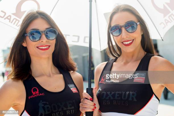 Grid girl in pit line of the Gran Premio Movistar de Aragon Circuit of Motorland Alcañiz Spain Saturday 23rd september 2017