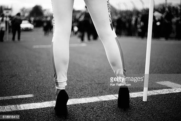 Grid girl is seen before race three of the Dunlop MSA British Touring Car Championship at Brands Hatch on April 3 2016 in Longfield England