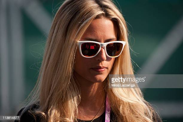 A grid girl looks on in paddock during the free practice of Superbike World Championship Round Four in Monza Circuit on May 6 2011 in Monza Italy