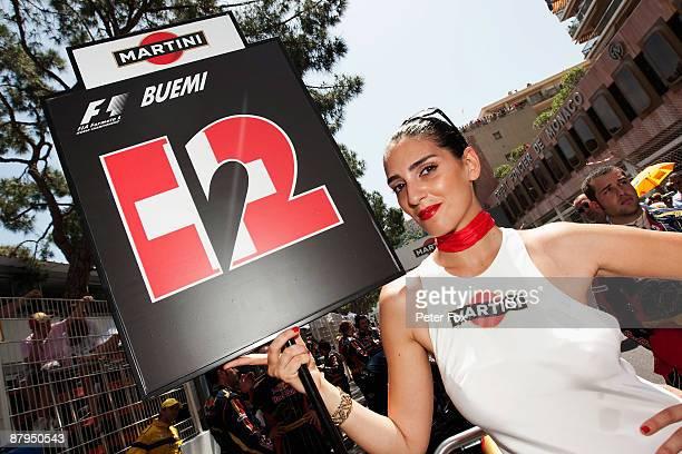 Grid girl of Sebastien Buemi of Switzerland and Scuderia Toro Rosso is seen before the Monaco Formula One Grand Prix at the Monte Carlo Circuit on...