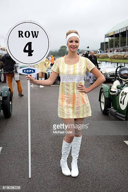 Grid girl on row 4 at start line on the track at Goodwood on September 10 2016 in Chichester England