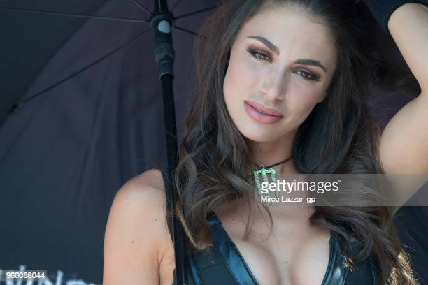 A grid girl poses in paddock during the qualifying practice during the MotoGp of Italy Qualifying at Mugello Circuit on June 2 2018 in Scarperia Italy