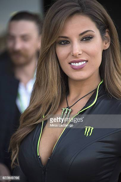 A grid girl poses in pit during the pit wall during the MotoGP of Valencia Qualifying at Ricardo Tormo Circuit on November 12 2016 in Valencia Spain