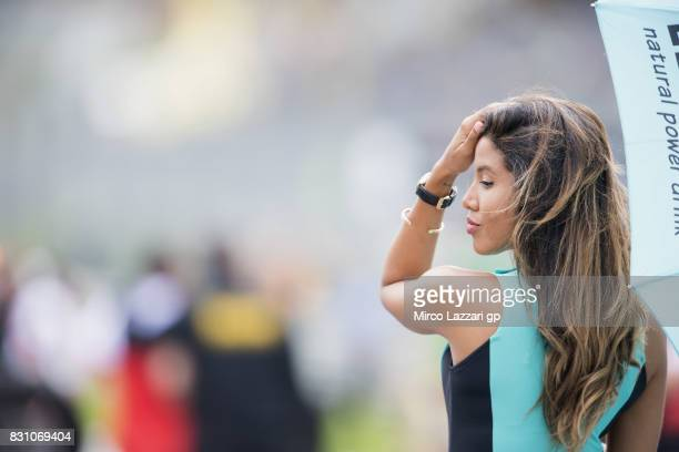 A grid girl poses on the grid during the Moto3 race during the MotoGp of Austria Race at Red Bull Ring on August 13 2017 in Spielberg Austria