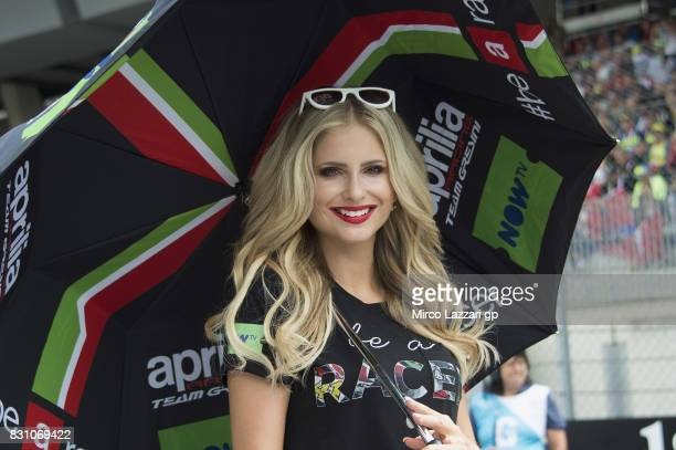 A grid girl poses on the grid during the MotoGP race during the MotoGp of Austria Race at Red Bull Ring on August 13 2017 in Spielberg Austria