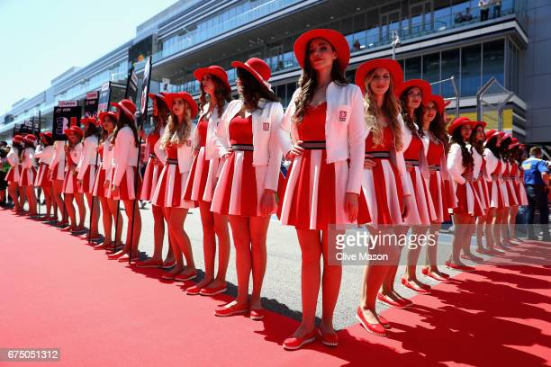 Grid girls at the drivers parade during the Formula One Grand Prix of Russia on April 30 2017 in Sochi Russia