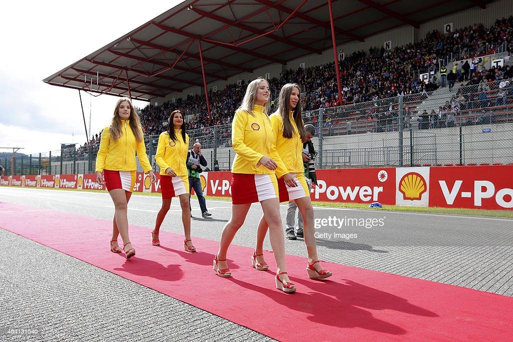 Grid girls before the Belgian Grand Prix at Circuit de Spa-Francorchamps at Circuit de Spa-Francorchamps on August 24, 2014 in Spa, Belgium.