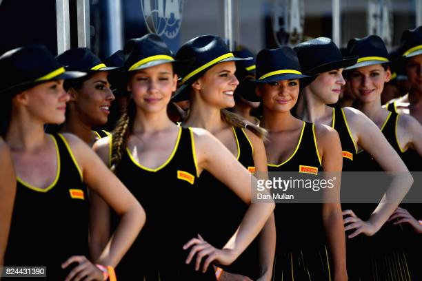 Grid girls in the paddock before the Formula One Grand Prix of Hungary at Hungaroring on July 30 2017 in Budapest Hungary