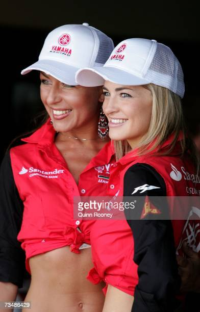 Grid girls pose before the start of race one of round two of the World Superbike Championships at the Phillip Island Circuit on March 4 2007 in...
