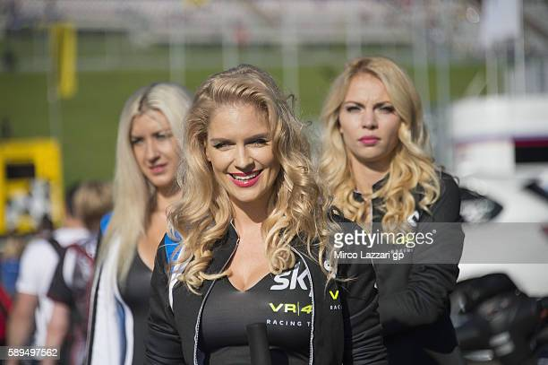 A grid girls pose in paddock during the MotoGp race during the MotoGp of Austria Race at Red Bull Ring on August 14 2016 in Spielberg Austria