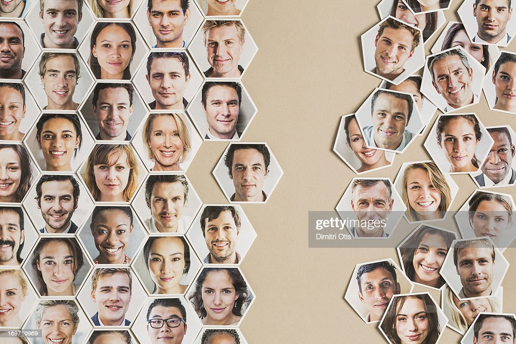 Grid of hexagonal portraits, one fitting in : Stock Photo