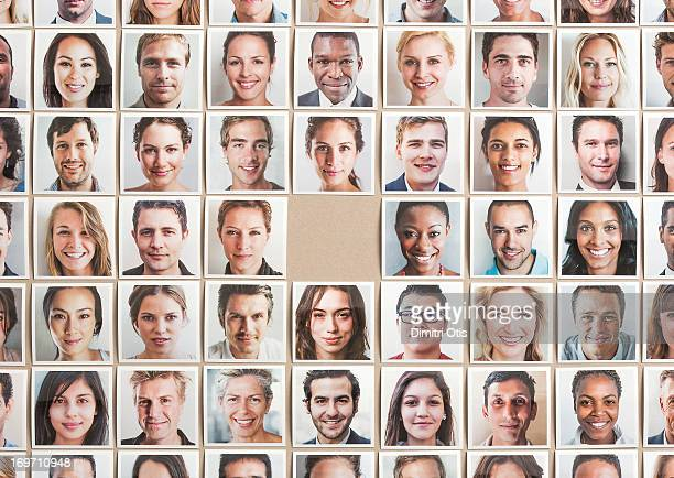 grid of portrait prints, one missing in centre - desaparecidos imagens e fotografias de stock