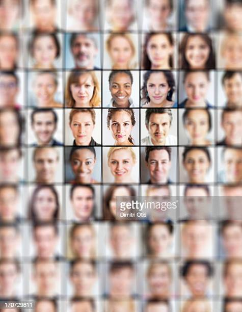 grid of portraits, all blurred but one sharp one - composite image stock pictures, royalty-free photos & images