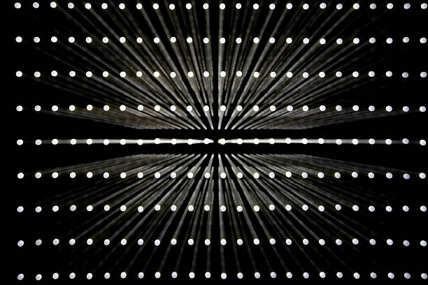 A grid of white lights illuminated