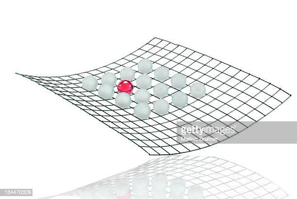 Grid with many white balls and a red ball, symbolic image for networks