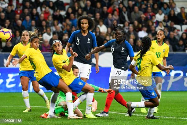 Griedge Mbock Bathy and Wendie Renard of France during the International Women match between France and Brazil at Allianz Riviera Stadium on November...