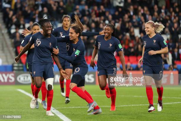 Griedge Mbock Bathy of France celebrates with team mates after scoring a goal to make it 20 which is ruled out via VAR during the 2019 FIFA Women's...