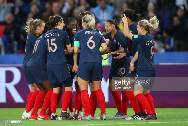 Griedge Mbock Bathy of France celebrates with teammates after she scores a goal which is then disallowed during the 2019 FIFA Women's World Cup...