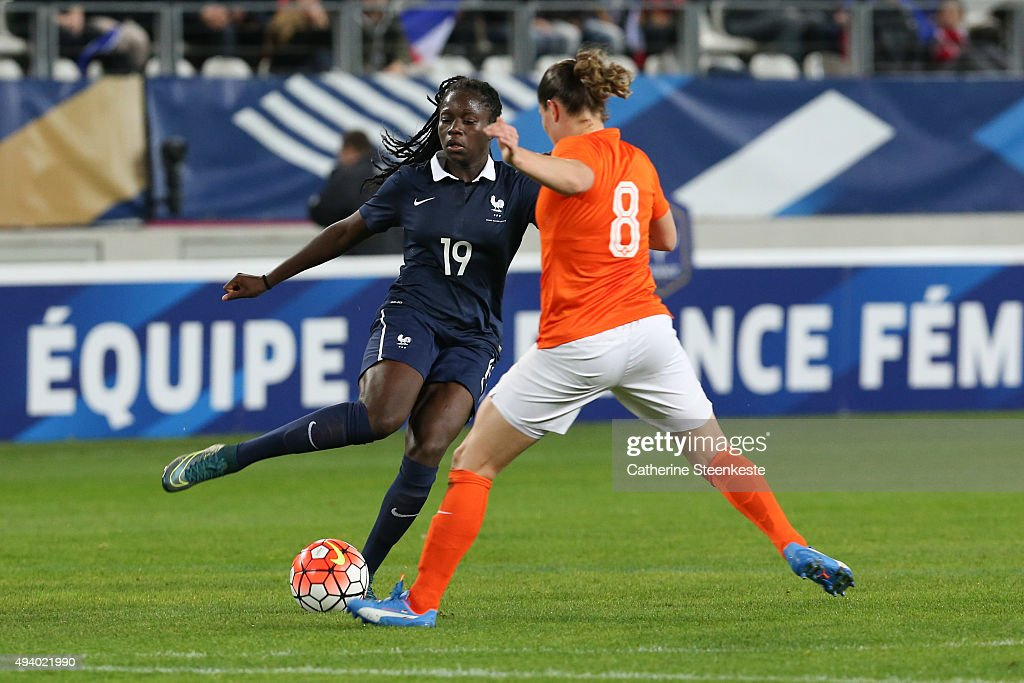 Griedge Mbock Bathy #19 of France controls the ball against Sherida Spitse #8 of Netherlands during the international friendly game between France and Netherlands at Stade Jean Bouin on October 23, 2015 in Paris, France.