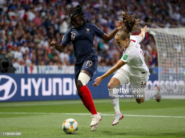 Griedge Mbock Bathy of France is challenged by Guro Reiten of Norway during the 2019 FIFA Women's World Cup France group A match between France and...