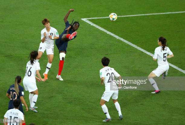 Griedge Mbock Bathy of France scores her team's second goal during the 2019 FIFA Women's World Cup France group A match between France and Korea...