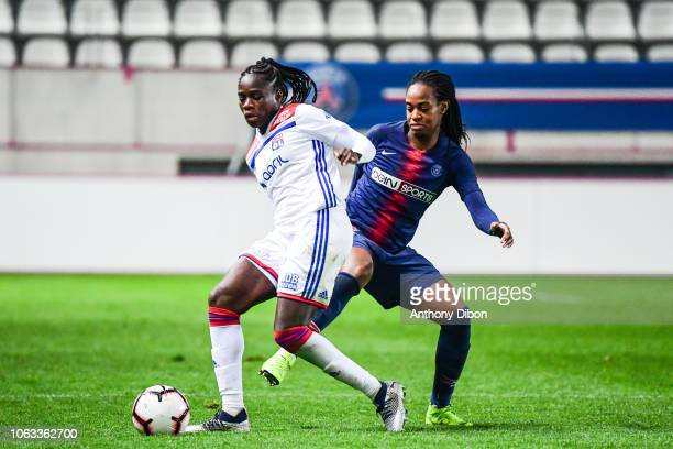 Griedge Mbock bathy of Lyon and Marie Antoinette Katoto of PSG during the Women's Division 1 match between Paris Saint Germain and Olympique Lyonnais...