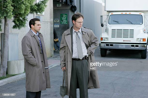 THE OFFICE Grief Counseling Episode 4 Aired Pictured Steve Carell as Michael Scott and Rainn Wilson as Dwight Schrute