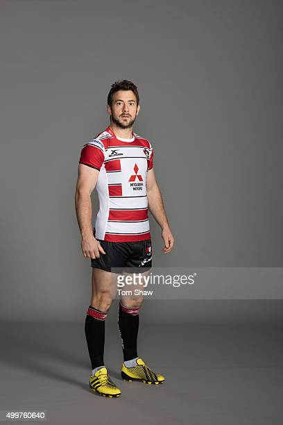 Grieg Laidlaw of Gloucester poses for a picture during the Gloucester Rugby Photocall at Hartpury College on October 29 2015 in Hartpury England