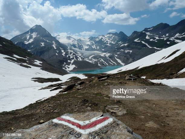 griesgletscher and griessee from passo del corno in bedretto valley - トレイル表示 ストックフォトと画像