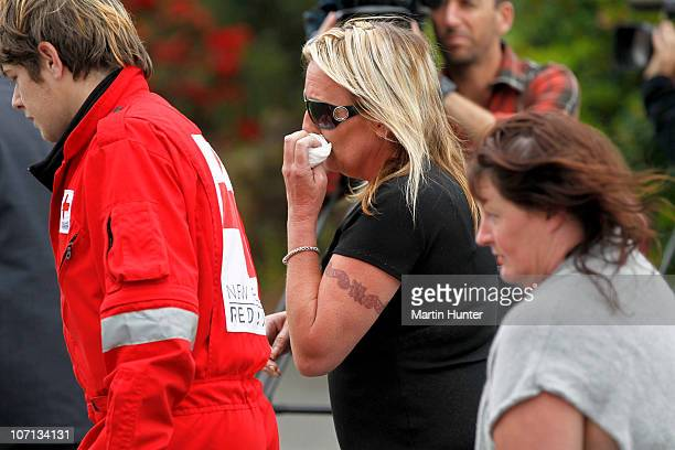 Grieving family members are seen before a visit by Prime Minister John Key to meet with families of the lost miners on November 25 2010 in Greymouth...