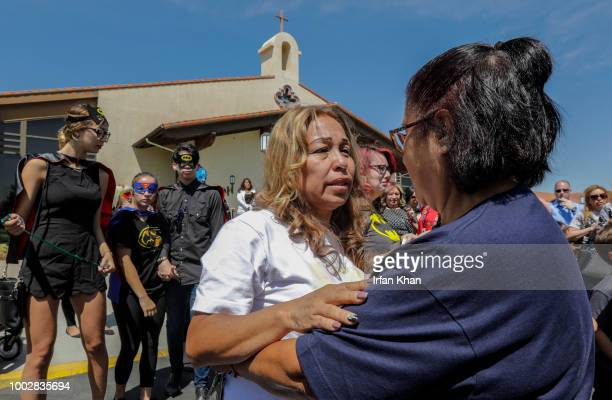 Grieving grandmother Concepcion Ramirez left of 10yearold Anthony Avalos weeps at the end of funeral services held at Saint Junipero Serra Parish on...