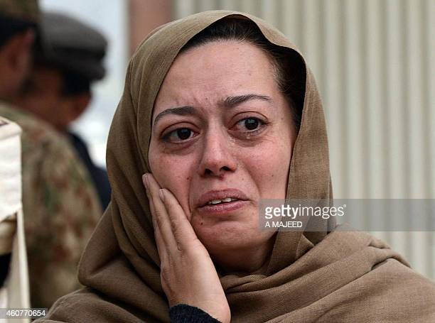A grieving Pakistani mother cries on the premises of an armyrun school in Peshawar on December 22 where her son Ali was killed during the December 16...