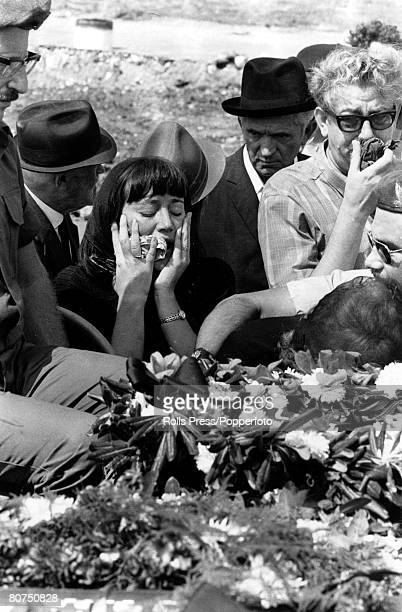 A grieving woman weeps over the coffin of one of the victims of the Munich Olympic Village massacre Tel Aviv Israel 7th September 1972