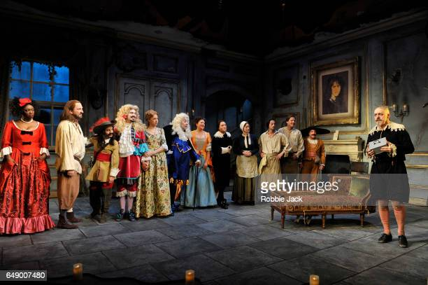Griff Rhys Jones as Harpagon with artists of the company in Sean Foley and Phil Porter's adaptation of Molliere's The Miser directed by Sean Foley at...