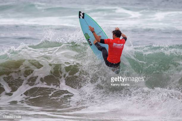 Griffin Colapinto of the USA surfing in the Semifinal of the US Open of Surfing Huntington Beach presented by Shiseido on September 26, 2021 at...