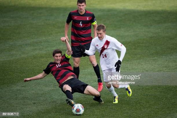 Griffin Dorsey of Indiana University and Drew Skundrich of Stanford University battle for the ball during the Division I Men's Soccer Championship...